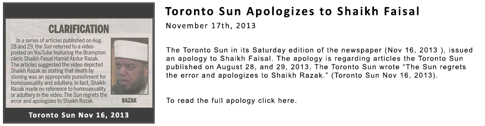 Toronto Sun Apologizes